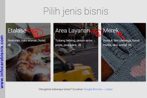 Pilih jenis bisnis di Google Bisnisku