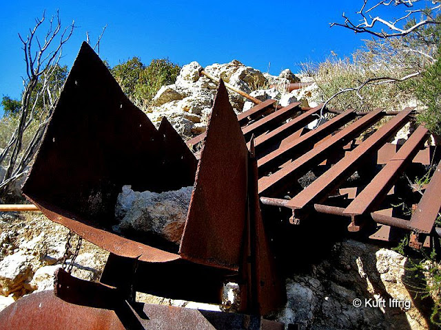 The Coquina MIne closed in 1935. Much of its heavy equipment was abandoned at the site.