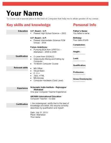 How To Make Resume For Freshers Bio Data Sample For Entry Level