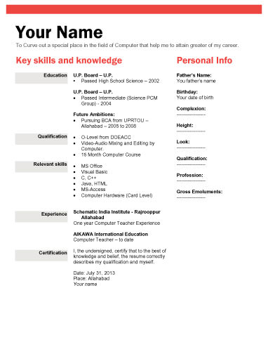 Sample Resume For Freshers Resume Templates Resume Format For