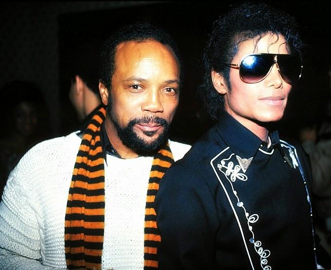 """Quincy Jones e Michael Jackson na gravação de """"We Are the World"""""""