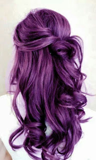 purple half up half down hairstyle