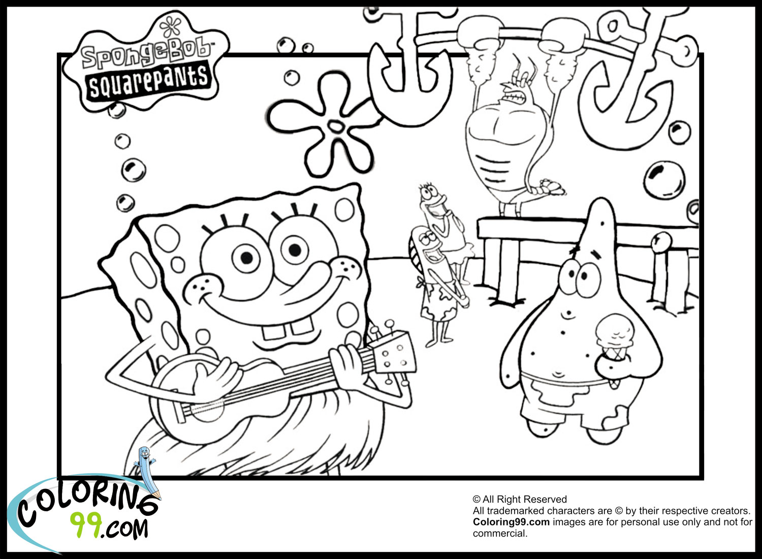 spongebob pineapple house coloring page