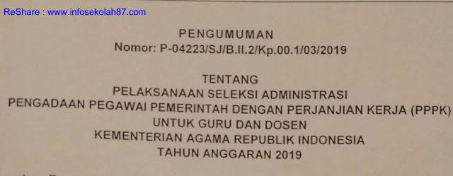 Hari Ini Di Buka Seleksi Administrasi PPPK Kemenag Tahap I