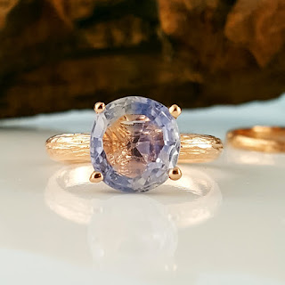 Blue Montana Sapphire in solid 14k Rose Gold Twig Engagement Ring, Hand Sculpted Montana Sapphire with a hand faceted Blue Sapphire.