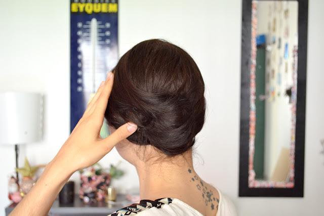 Toute de rose poudrée - tutoriel coiffures de mariage cheveux courts