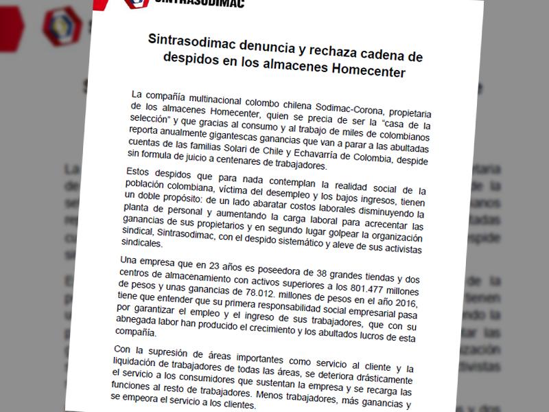 Sintrasodimac denuncia y rechaza cadena de despidos en los almacenes Homecenter