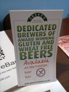 Photograph of a Green's Gluten Free beer leaflet