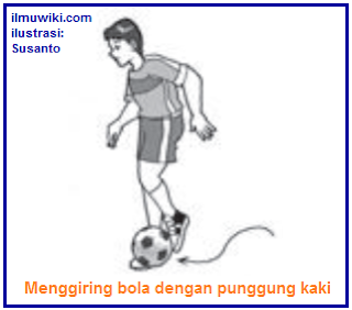 Gambar menggiring bola dengan punggung kaki