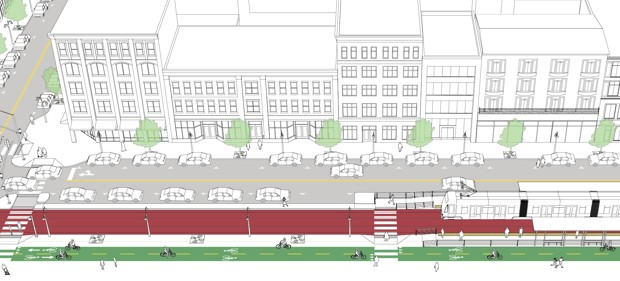Edgefront steet with pedestrian intersections. (NACTO)