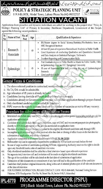 primary-secondary-healthcare-department-jobs-2020-form-nts-org-pk