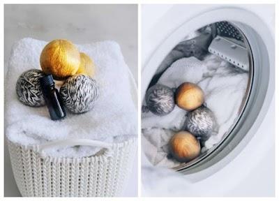 Bolas de Lana para acortar secado y aromatizar la ropa lavada