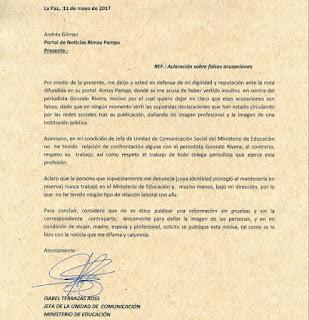 Carta de Isabel Terrazas a Andrés Gómez