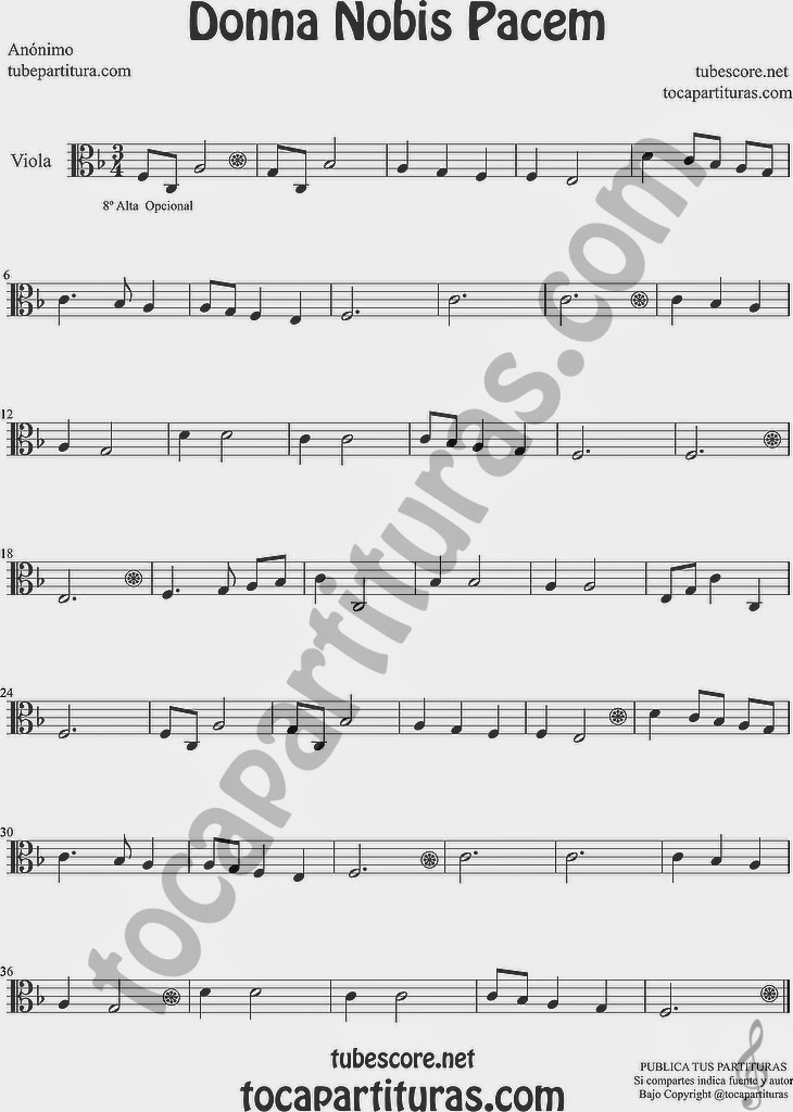 Donna Nobis Pacem Partitura de Viola Sheet Music for Viola Music Score