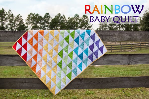 Rainbow baby quilt tutorial from So You Think You're Crafty