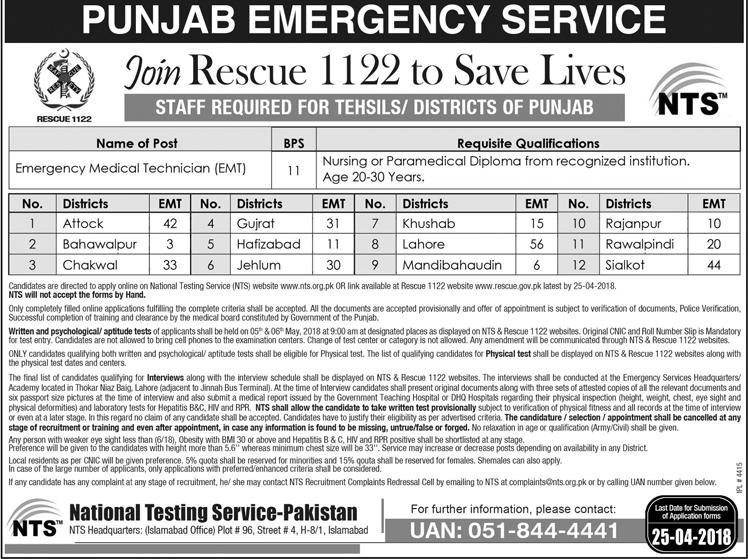 Jobs in Punjab, Latest Jobs in Pakistan, Latest Jobs in NTS , NTS Jobs in Punjab, NTS Rescue Jobs 2018