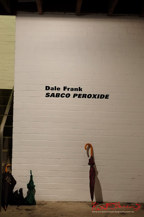 Title wall, Dale Frank SABCO PEROXIDE exhibition at Roslyn Oxley9. Photos by Kent Johnson.