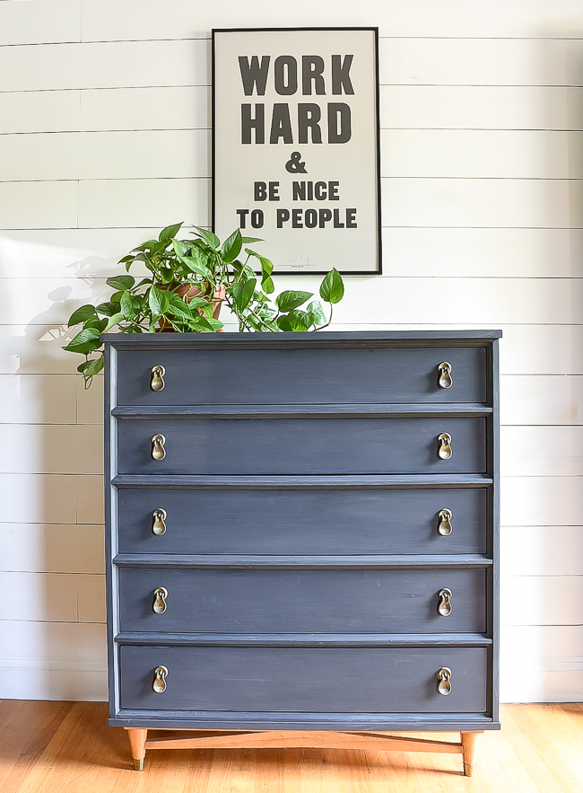 Charcoal and wood MCM dresser makeover