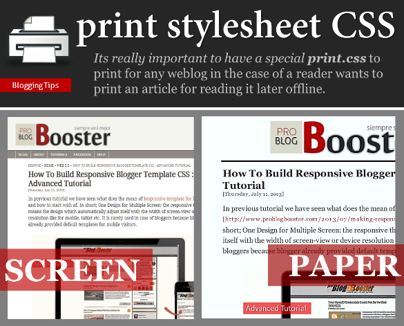 Print Stylesheet CSS Trick for Blogger - Problogbooster