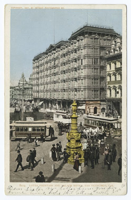 Postcard of Lotta Fountain and the Palace Hotel (pre-1906)