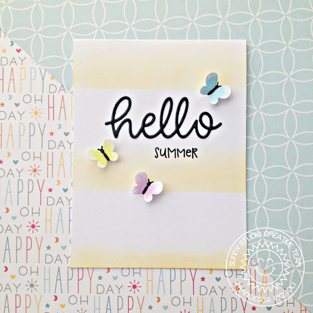 Sunny Studio Stamps: Hello Word Die Summer Butterflies Hello Card by Franci Vignoli