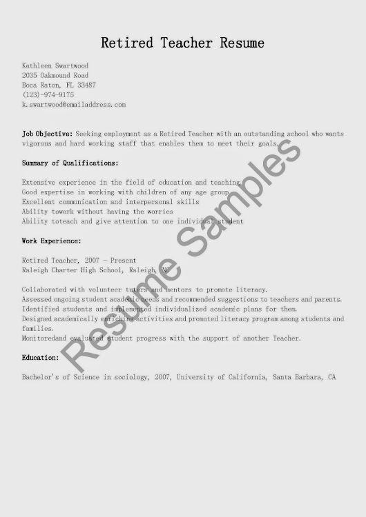 retired teacher resume - Towerssconstruction