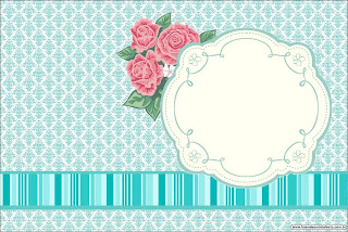 Tiffany with Roses: Free Printable Invitations or Cards.
