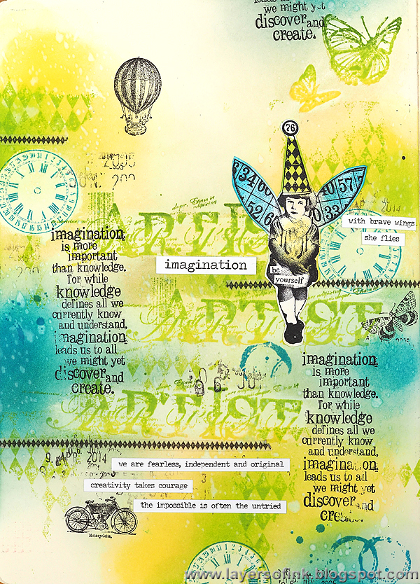 Layers of ink - Imagination art journal page by Anna-Karin