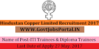 Hindustan Copper Limited Recruitment 2017– 30 ITI Trainees & Diploma Trainees