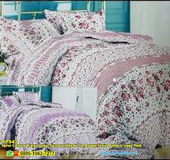 Sprei Custom Katun Lokal Dewasa Naomi Tm Bunga Floral Pattern Ungu Pink