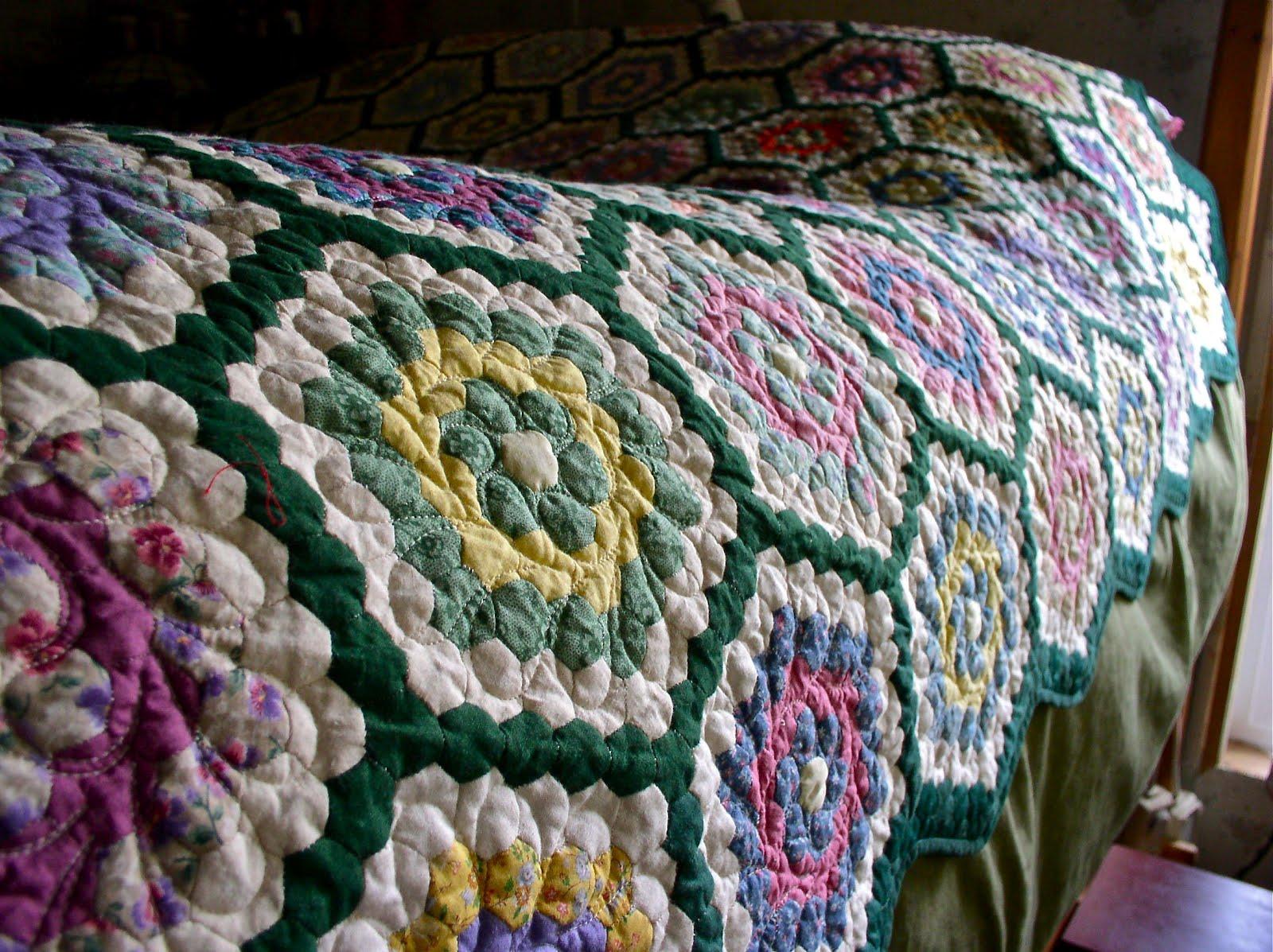 Luann kessi grandmothers flower garden on the bed - Grandmother s flower garden quilt ...