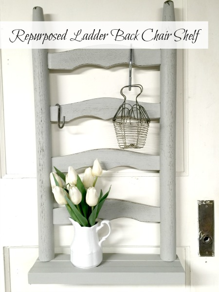 Repurposed Ladder Back Chair Shelf www.homeroad.net