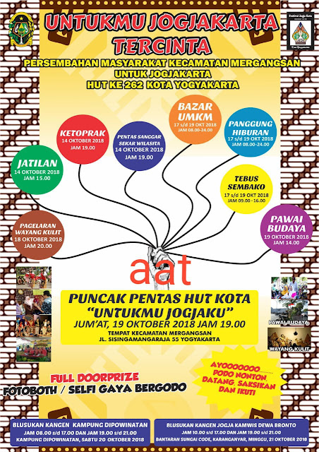 Jadwal Agenda HUT Kota Yogyakarta, 19 Oktober 2018