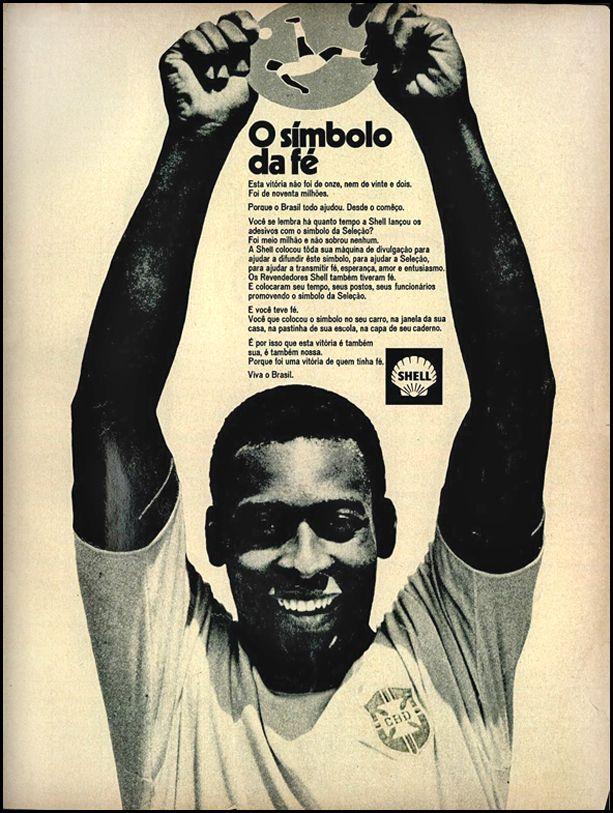 Propaganda antiga da Shell promovendo ação promocional junto com o Pelé