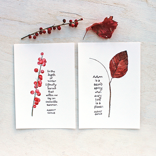 Winterberry and Autumn Leaf prints with Camus quotes