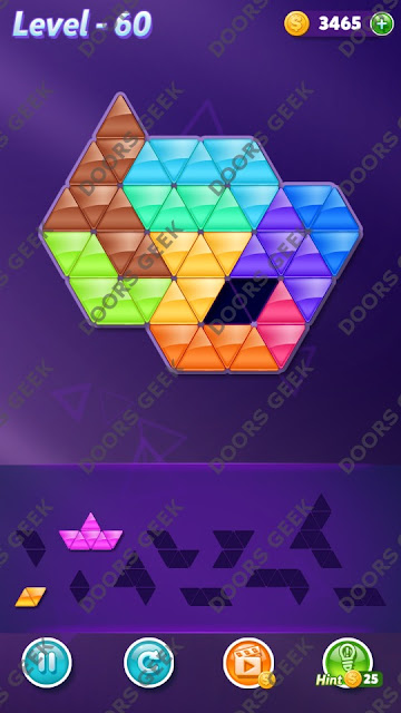 Block! Triangle Puzzle 10 Mania Level 60 Solution, Cheats, Walkthrough for Android, iPhone, iPad and iPod
