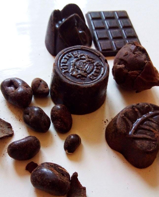 Exemplos de chocolates da chocolateria  artesanal de Trastevere