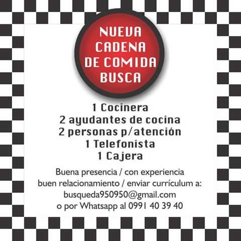 Bolsa de trabajo paraguay empleos cocinera for Busco trabajo ayudante de cocina