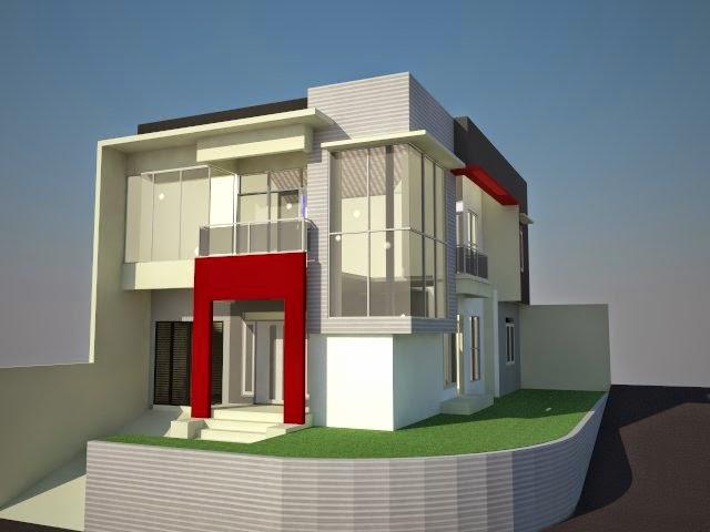 Desain Rumah Minimalis Hook 2 Lantai House Q