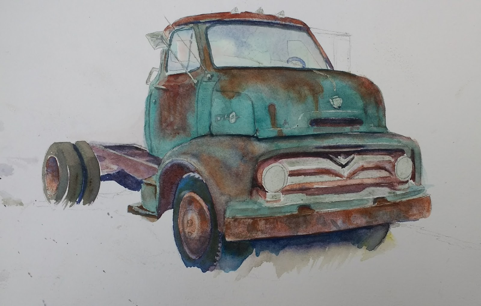 Chris Campbell Watercolors 1955 Ford Truck F100 Side Mirrors If You Want Your To Be Similar This Color Ive Put Below Some Possible Combinations That Would Work I Realize We Dont All Have The Same