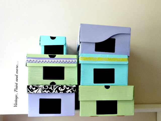 Vintage, Paint and more... DIY dorm room storage made from old shoe boxes