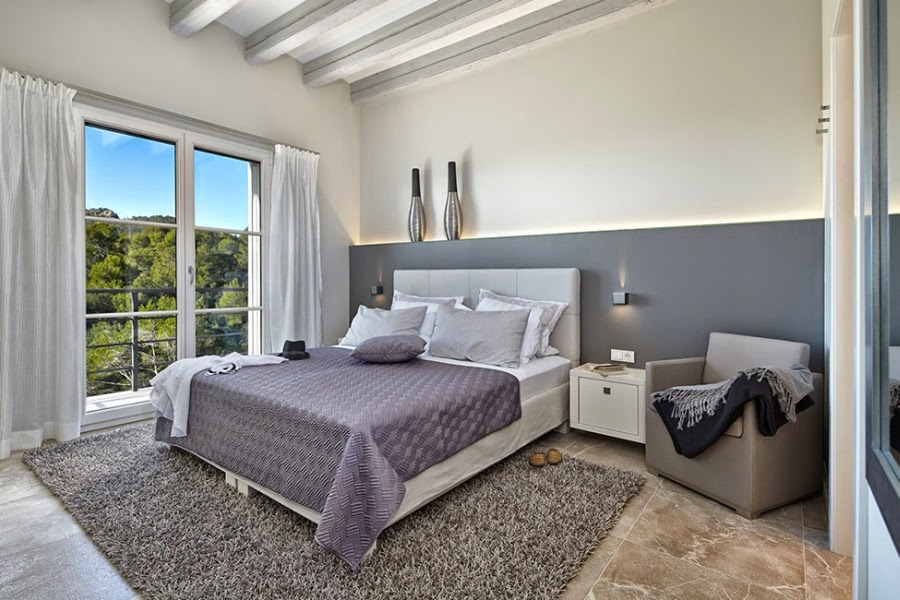 Nowoczesna willa na Majorce, wystrój wnętrz, wnętrza, urządzanie domu, dekoracje wnętrz, aranżacja wnętrz, inspiracje wnętrz,interior design , dom i wnętrze, aranżacja mieszkania, modne wnętrza, sypialnia