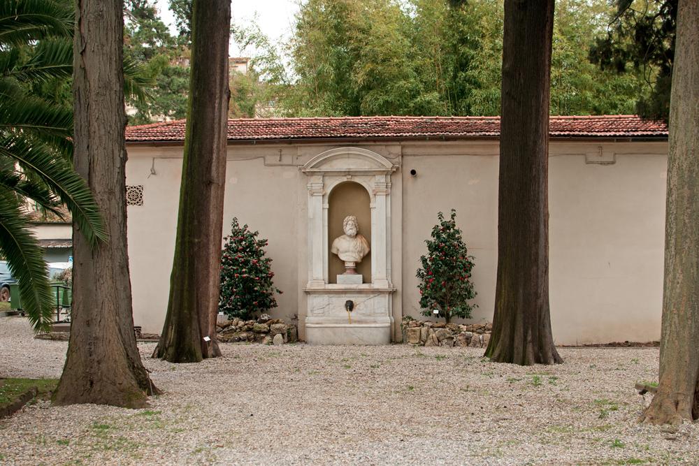 Vue d'une statue du jardin des simples de Florence