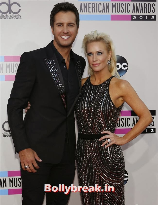 Singer Luke Bryan with his wife Caroline Boyer, American Music Awards 2013