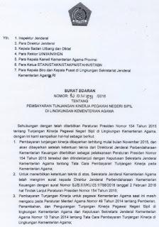 Surat Edaran Sekjen tentang Pembayaran Tunjangan Kinerja PNS di Lingkungan Kemenag