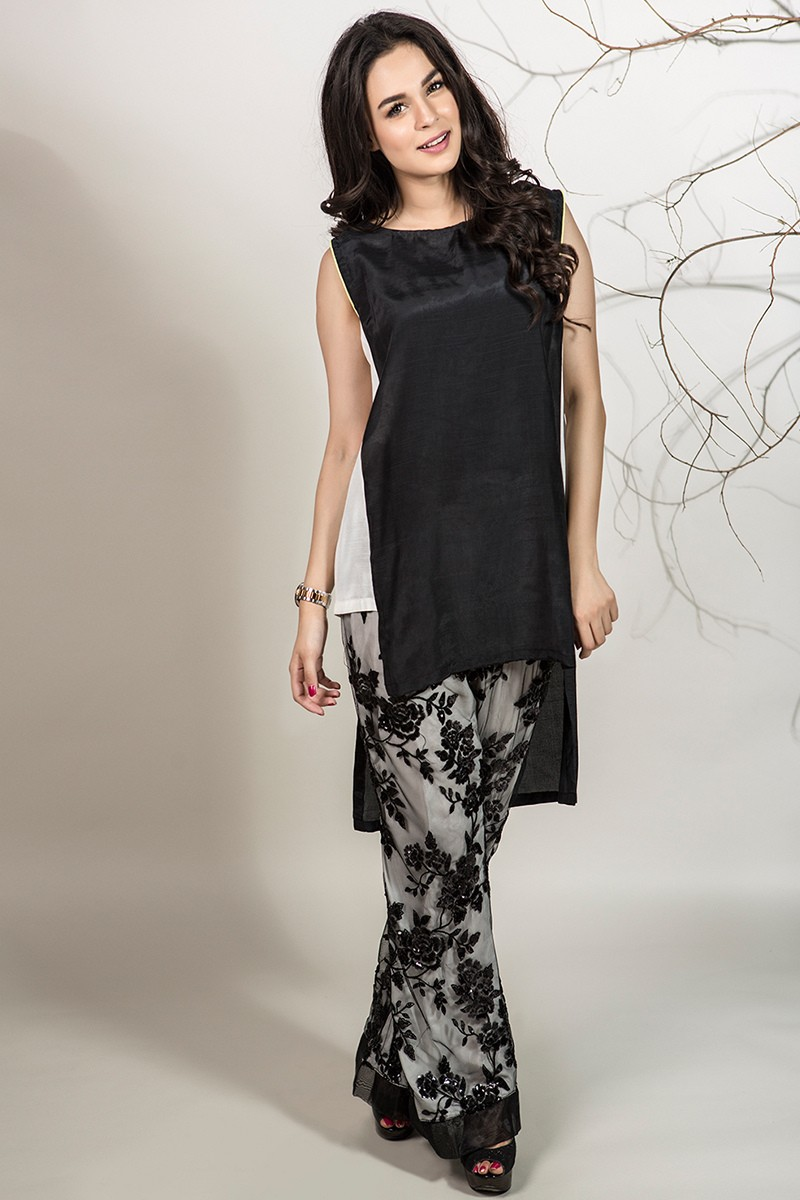 1201b34f29 2 Piece Shirt and Trouser Black and white. Raw silk front short back long  tunic. Black floral sequence net trouser