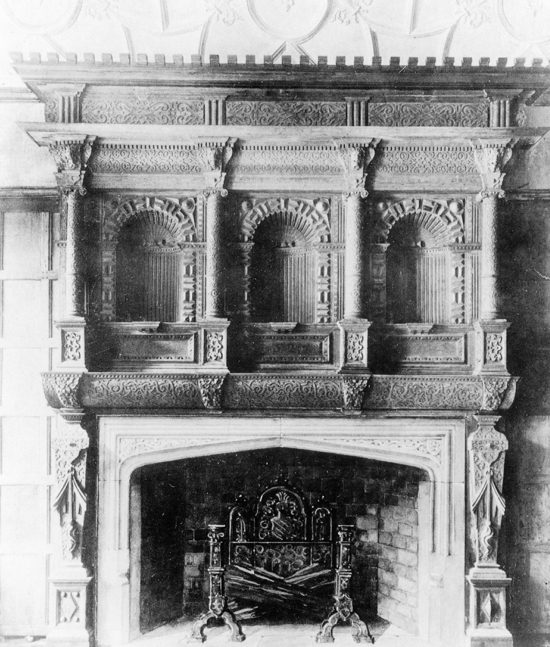 Photograph of Gobions fireplace, rebuilt in Halifax c 1800s Image from NMLHS