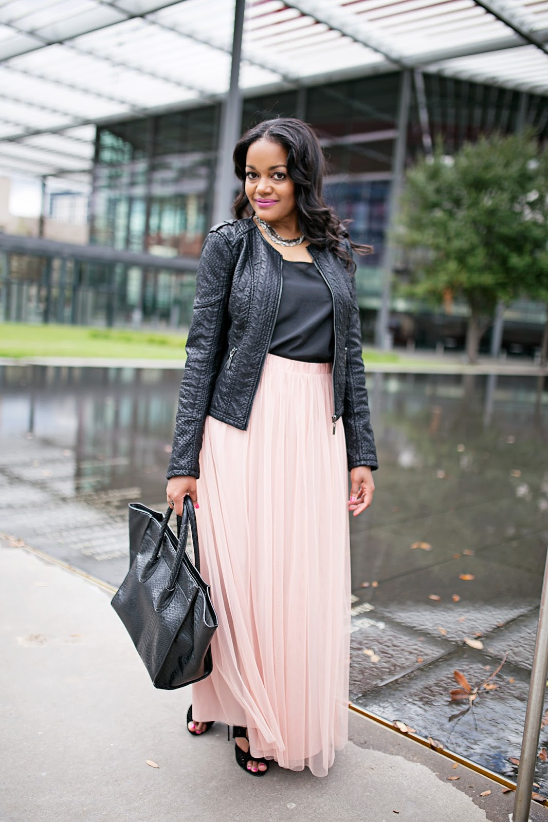 The Leather Jacket Meets Tulle Skirt