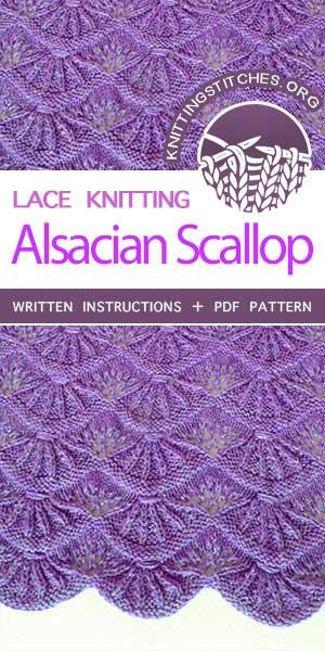 Knitting Stitches -- Alsacian Scallops Knitting Stitch. Skill Level: Intermediate. FREE tutorial for knitted Alsacian Scallops Pattern. #knittingstitches #knittingpatterns