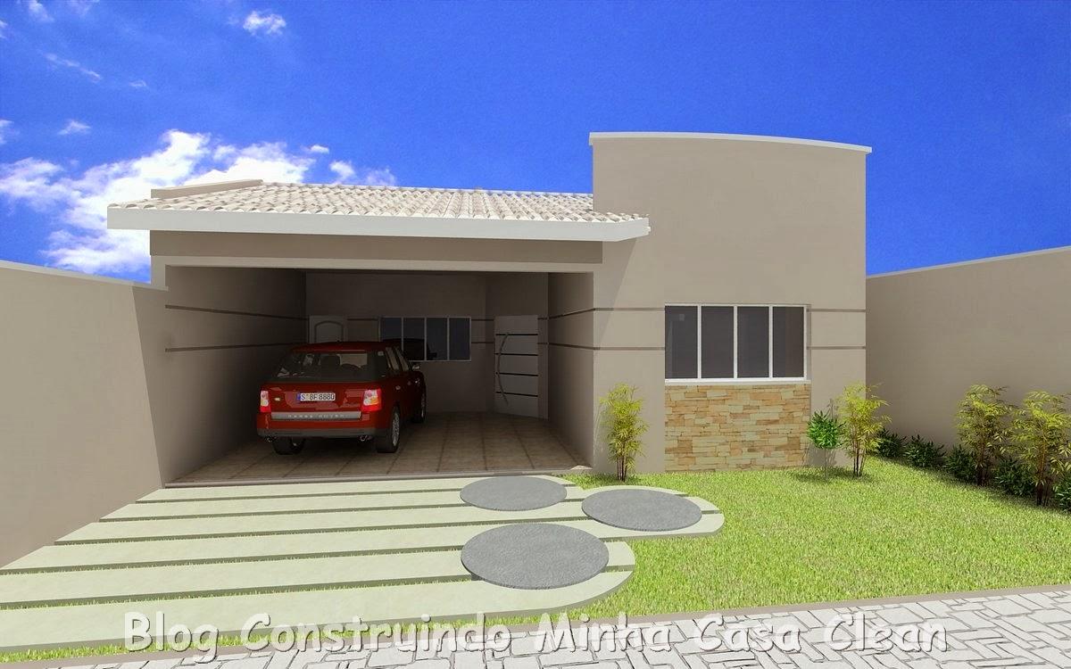 Construindo minha casa clean 20 fachadas de casas for Fachadas modernas para casas pequenas de una planta